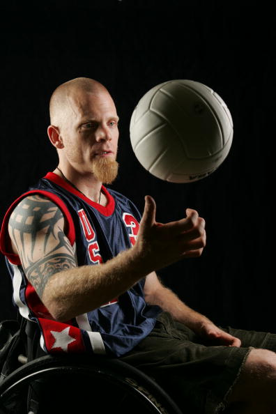 """NEW YORK - JUNE 21: (U.S. TABS OUT AND NO SALES TO A.M.I) Mark Zupan, captain of the United States quadriplegic rugby team poses for a portrait in New York on June 21, 2005. His team is the subject of a new documentary entitled """"Murderball.""""   (Photo by Todd Plitt/Getty Images)"""